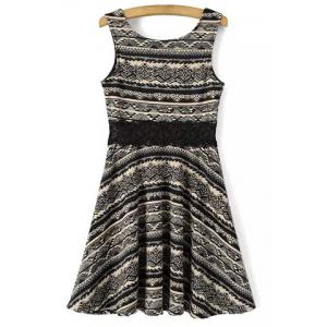 Leisure Style Scoop Neck Sleeveless Lace Splicing Printed Dress For Women -