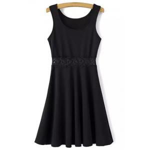 Leisure Style Scoop Neck Sleeveless Lace Splicing Black Dress For Women - Black - S