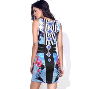 Stylish Round Neck Full Print Sleeveless Bodycon Dress For Women - BLUE S