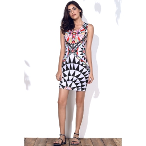 Stylish Round Neck Geometric Pattern Sleeveless Bodycon Dress For Women - COLORMIX M