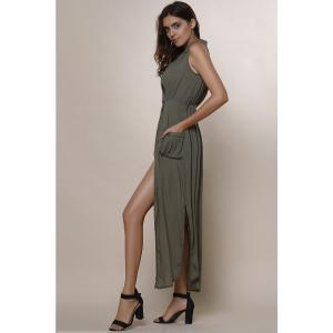 Crossover Maxi Dress With Slits - ARMY GREEN M