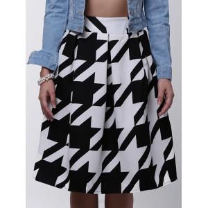 Houndstooth Box Pleated Midi Skirt - WHITE/BLACK L