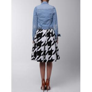 Houndstooth Box Pleated Midi Skirt - WHITE AND BLACK L