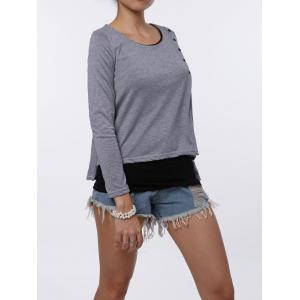 Stylish Scoop Neck Faux Twinset Design Long Sleeve T-Shirt For Women - LIGHT GRAY M