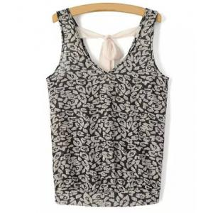 Chic V Neck Printed Criss-Cross Tank Top For Women