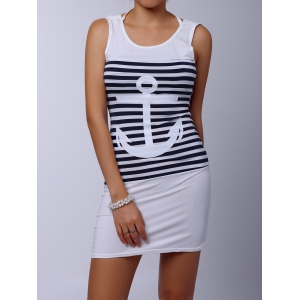 Casual Scoop Collar Sleeveless Striped Anchor Pattern Women's Dress - White - M