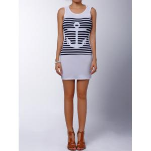 Casual Scoop Collar Sleeveless Striped Anchor Pattern Women's Dress - WHITE S