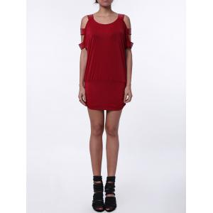 Casual Sequin Hollow Out Dress with Sleeves - Red - One Size(fit Size Xs To M)