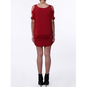 Casual Sequin Hollow Out Dress with Sleeves - RED ONE SIZE(FIT SIZE XS TO M)