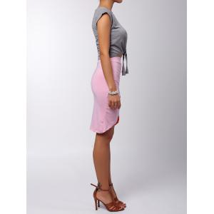 Ruched Crossover Pencil Skirt - PINK ONE SIZE(FIT SIZE XS TO M)