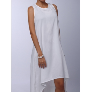 Stylish Round Collar Sleeveless Solid Color Asymmetrical Women's Dress - WHITE S