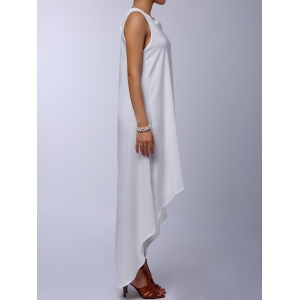 Stylish Round Collar Sleeveless Solid Color Asymmetrical Women's Dress - WHITE M