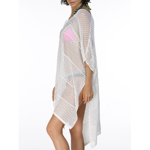 Plunging Neck High Slit Hollow Out Swimsuit Cover-Up Dress -
