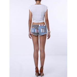 Low-Waisted Striped Star American Flag Denim Micro Shorts - BLUE/RED S