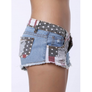Low-Waisted Striped Star American Flag Denim Micro Shorts - BLUE AND RED S