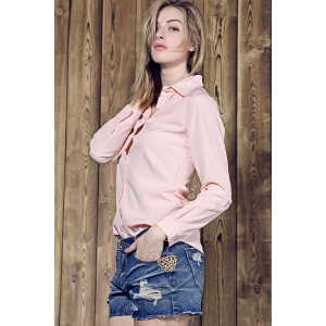Shirt Collar Long Sleeve Plain Formal Shirt - PINK S