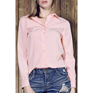 Shirt Collar Long Sleeve Plain Formal Shirt - Pink - 2xl