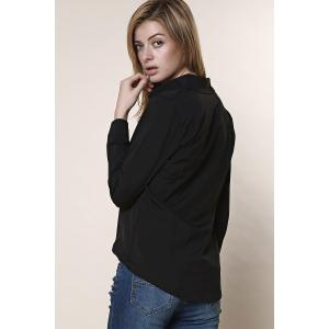 Shirt Collar Long Sleeve Plain Formal Shirt - BLACK XL