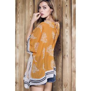 Stylish V-Neck 3/4 Sleeve Loose-Fitting Chiffon Cover-Up For Women -