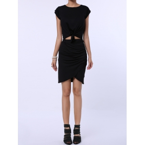 Ruched Crossover Pencil Skirt - Black - One Size(fit Size Xs To M)