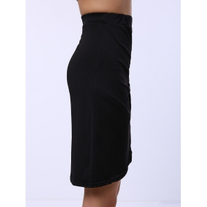Ruched Crossover Pencil Skirt - BLACK ONE SIZE(FIT SIZE XS TO M)