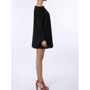 Sexy Off The Shoulder Flared Sleeve Solid Color Dress For Women - BLACK XL