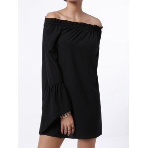 Sexy Off The Shoulder Flared Sleeve Solid Color Dress For Women -