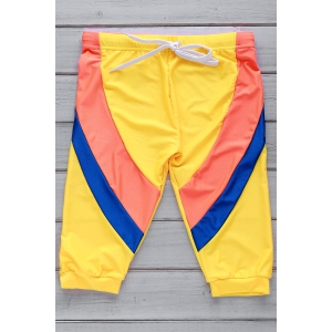 Color Block Lace Up Five Pants Men's Swimming Trunks - Yellow - Xl