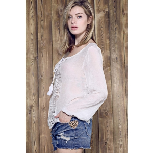 Graceful Skew Neck Long Sleeve Loose-Fitting White Lace Spliced Blouse For Women -