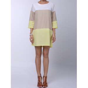 Casual Round Neck 3/4 Sleeve Color Block Loose-Fitting Women's Dress - Yellow - S