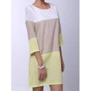 Casual Round Neck 3/4 Sleeve Color Block Loose-Fitting Women's Dress - YELLOW M