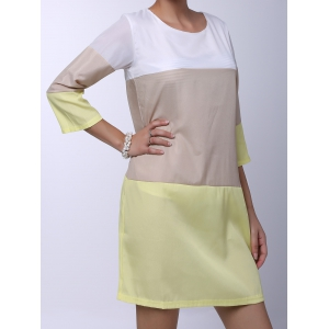 Casual Round Neck 3/4 Sleeve Color Block Loose-Fitting Women's Dress - YELLOW S