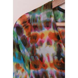 Bohemian V-Neck 3/4 Sleeve Button Design Printed Women's Cover Up - AS THE PICTURE ONE SIZE(FIT SIZE XS TO M)