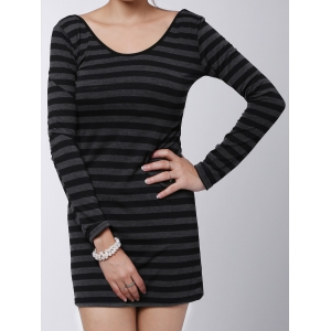 Stylish V-Neck Long Sleeves Striped Long Sweater For Women - GRAY ONE SIZE(FIT SIZE XS TO M)