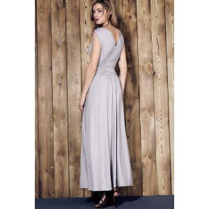 V Neck Sleeveless Ruched Maxi Prom Dress -