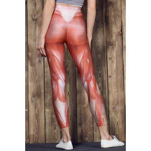 Active High Waist Muscle Printed Bodycon Sport Pants For Women - COLORMIX S