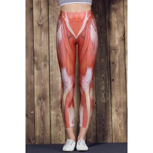 Active High Waist Muscle Printed Bodycon Sport Pants For Women -