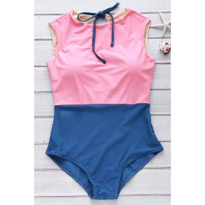 Cute High Neck Color Block Swimsuit - Watermelon Red - Xl