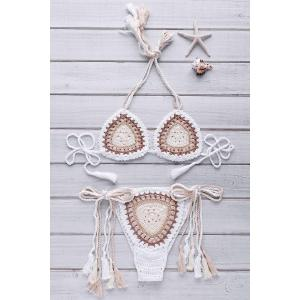 Ethnic Style Halter Neck Backless Colorful Crochet Bikini Set For Women