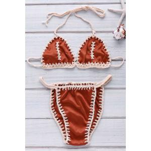 Sexy Style Halter Neck Crochet Spliced Backless Bikini Set For Women