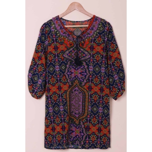 Fashionable V-Neck Full Print 3/4 Sleeve Dress For Women