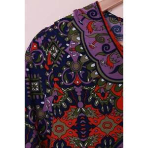 Fashionable V-Neck Full Print 3/4 Sleeve Dress For Women - COLORMIX S