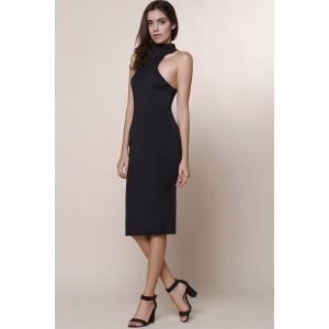 Elegant Turtle Neck Solid Color Hollow Out Sleeveless Bodycon Dress For Women - BLACK ONE SIZE(FIT SIZE XS TO M)