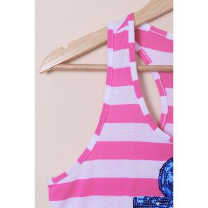 Casual Scoop Neck Striped Sequined Anchor Tank Top For Women -