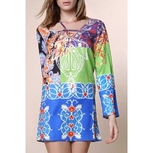Sexy Plunging Neck Long Sleeve Printed Chiffon Dress For Women - Colormix - S