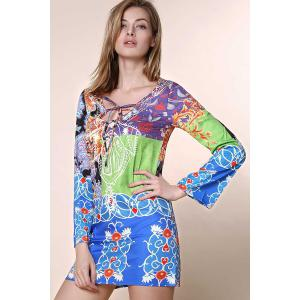 Sexy Plunging Neck Long Sleeve Printed Chiffon Dress For Women - COLORMIX S