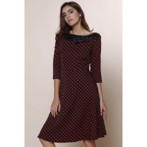 Vintage Slash Neck Polka Dot Print Bowknot Design 3/4 Sleeve Dress For Women -