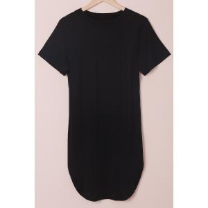 Stylish Round Neck Short Sleeve Slit Plus Size Women's Dress