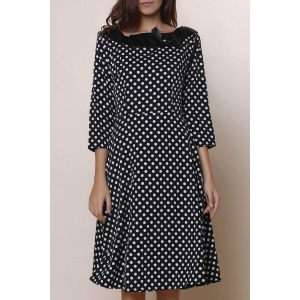 Vintage Slash Neck Polka Dot Print Bowknot Design 3/4 Sleeve Dress For Women - Black - Xl