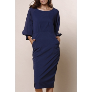 Stylish Round Collar 3/4 Sleeve Pure Color Pocket Design Women's Dress